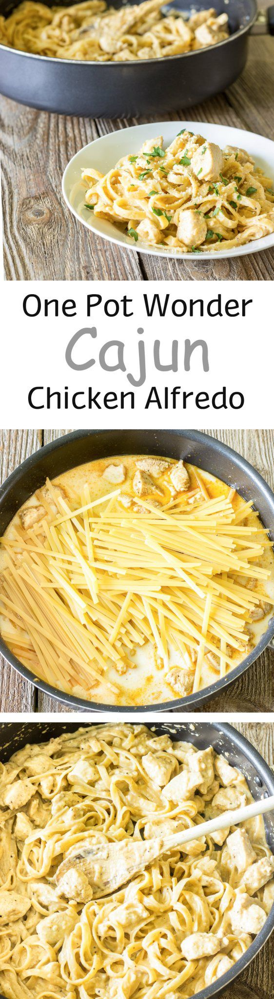 One Pot Wonder Cajun Chicken Alfredo - a healthier copycat of the popular Red Lobster #pasta dish