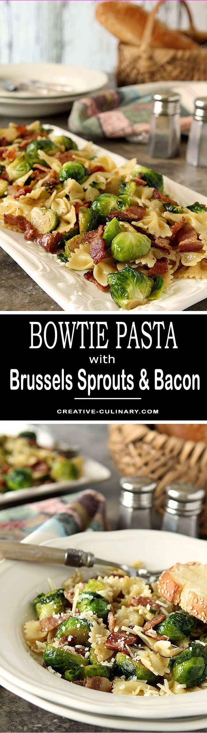 Bacon and Brussels Sprouts with Bowtie Pasta from 'The Weeknight Dinner' cookbook by Mary Younkin. via @creativculinary