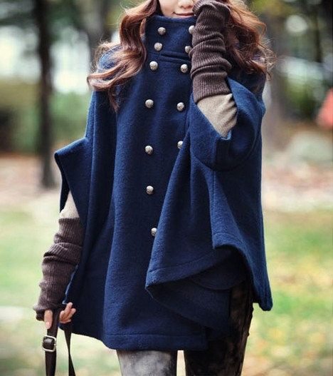 Navy Blue Double Breasted Cape Coat Wool Winter Coat Women Wool Cape Coats  Wool Coat Cute Cloak  XS,S,M,L: