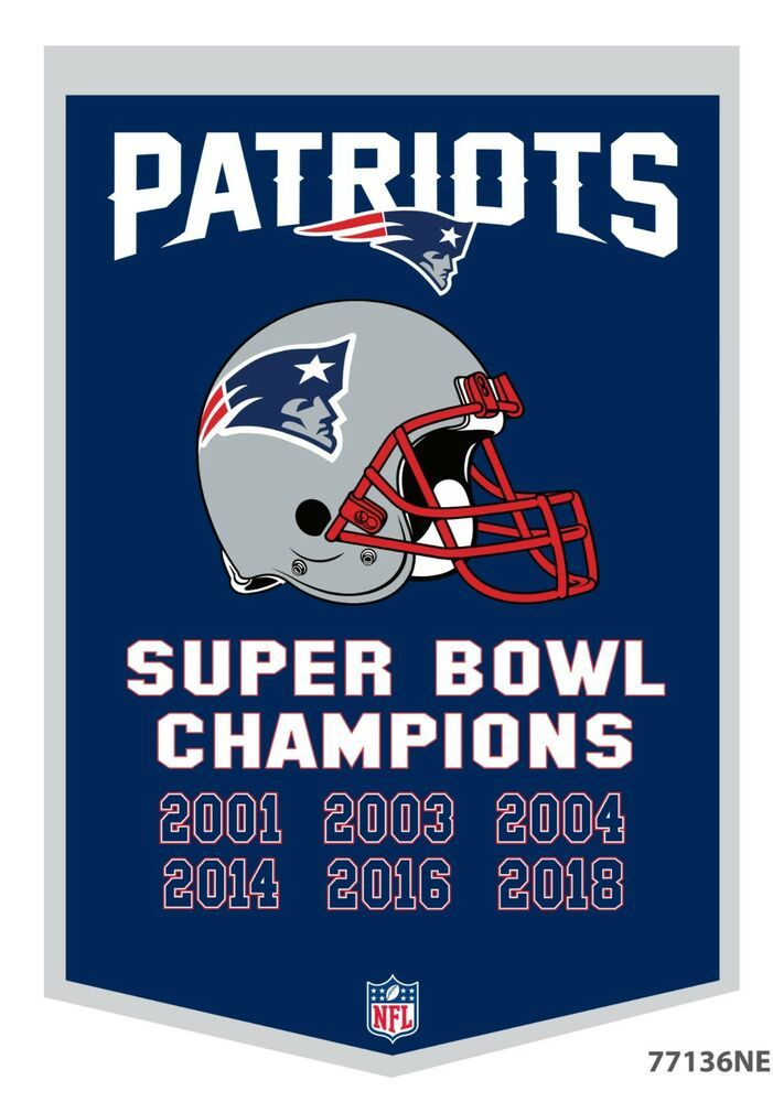 New England Patriots 24x36 Genuine Wool Super Bowl Dynasty Banner 6 Time Champs New England Patriots New England Patriots Apparel New England Patriots Football