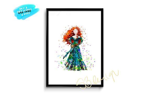 Princess Merida Poster Brave Watercolor Poster Disney Poster