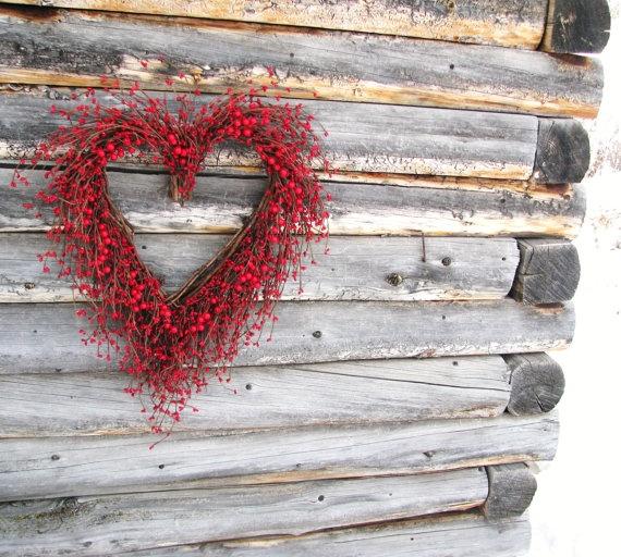 RUSTIC WOODLAND WEDDING Heart Wreath-Red Berry Wreath-Fall Wedding-Front Door Decor-Scented Cinnamon-Custom Choose Scent & Ribbon.