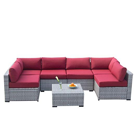 Phenomenal Outdoor Furniture 7 Piece Sectional Sofa Set All Weather Unemploymentrelief Wooden Chair Designs For Living Room Unemploymentrelieforg