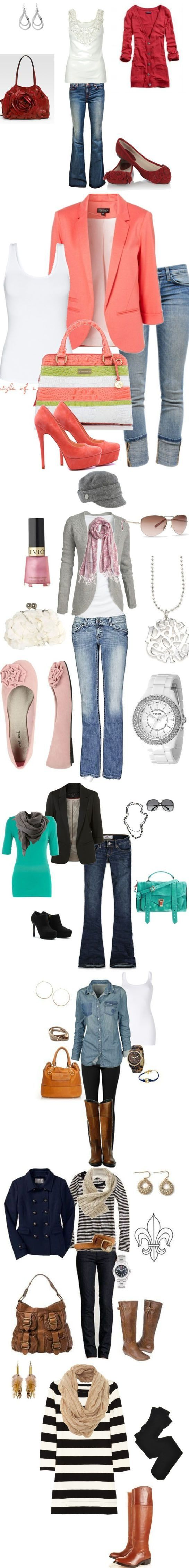 I like pretty much everything shown in this picture, except the striped outfits at the bottom.  Don't need a purse, tho!