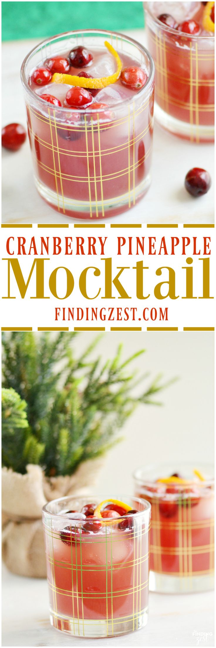 This Cranberry Pineapple Mocktail recipe is the perfect non-alcoholic holiday drink. Both kids and adults will love it for Christmas or New Years Eve!