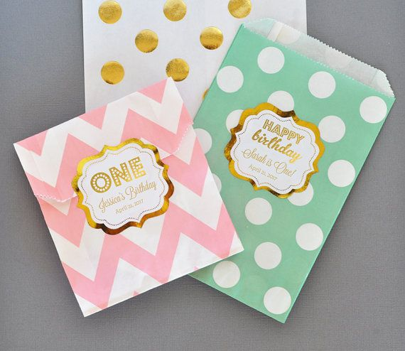1st Birthday Party Favors Bags will sweeten up your favors! First Birthday Favor Bags are a great idea for a mint and pink birthday candy buffet too -