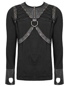 Punk-Rave-Herren-Arkham-Dieselpunk-Top-Schwarz-Braun-Gotik-Langarm-T-shirt
