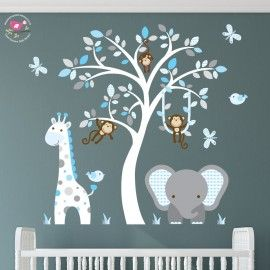 Enchanted Interiors Premium Self Adhesive Fabric Nursery Wall Art Stickers Jungle Decals Featuring A Safari