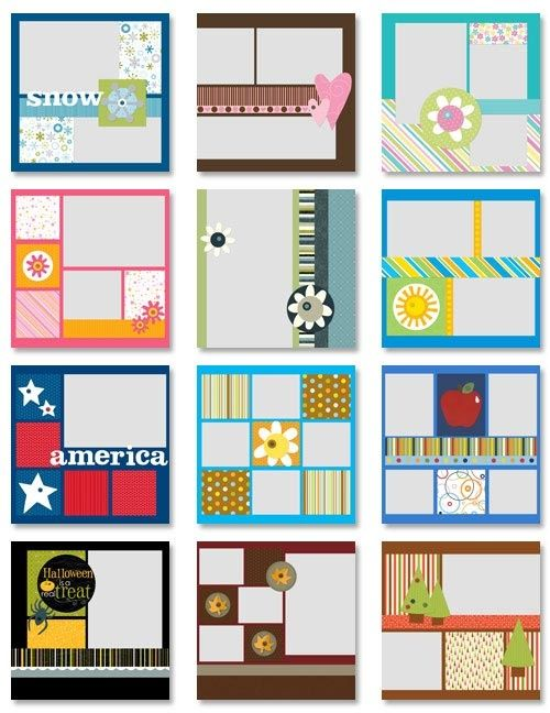 Melinda Garner scrapbook page layout....I like the pink ...
