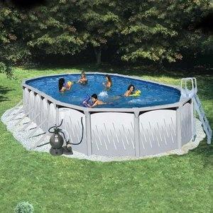 Heritage Oval 33 39 X 18 39 X 52 Deep Platinum Above Ground Pool Package Summer Stuff Fun