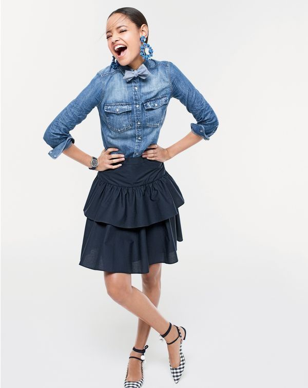 J.Crew women's western chambray shirt in vintage indigo, double tiered ruffle skirt, sequin petal earrings, Lily tie-back flats in gingham and men's chambray bow tie.