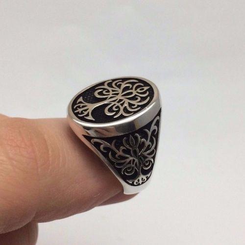Турецкие османские украшения деревом жизни мотив 925K стерлинговое серебро мужские кольца