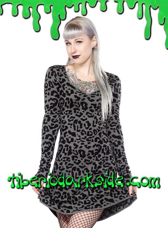 Vestido jersey de leopardo gris de manga larga con escote. Material: 100% hilo de viscosa. Marca: Sourpuss.  COLOR: GRIS TALLAS: S, M, L, XL, XXL, 3XL  S - 82 cm pecho (ES talla 36, MEX talla 26, UK talla 8) M - 88 cm pecho (ES talla 38, MEX talla 28, UK talla 10) L - 94 cm pecho (ES talla 40, MEX talla 30, UK talla 12) XL - 100 cm pecho (ES talla 42, MEX talla 32, UK talla 14) XXL - 106 cm pecho (ES talla 44, MEX talla 34, UK talla 16) 3XL - 112 cm pecho (ES talla 46, MEX talla 36, UK…