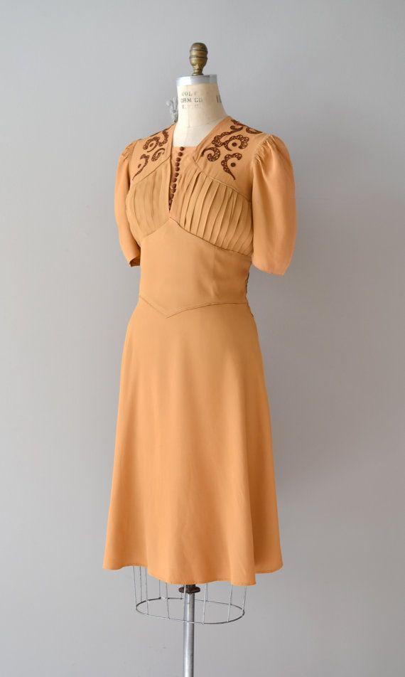 1930s dress / rayon 30s dress / Butterscotch Ganache by DearGolden