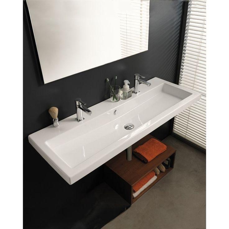 Bathroom Sink, Tecla CAN05011B, Rectangular White Ceramic Wall Mounted Oru2026
