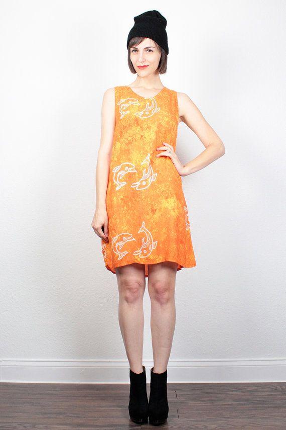 Vintage 90s Dress Orange Batik Dress 1990s Dress Mini Dress Boho Hippie Dress Sundress Bohemian Festival Tie Dye Dress S Small M Medium by ShopTwitchVintage #vintage #etsy #90s #1990s #dress #mini #boho #batik #dolphins #tiedye #tiedyed