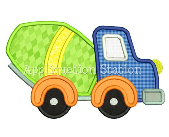 Cute Cement Mixer Truck Applique Machine by AppliquetionStation