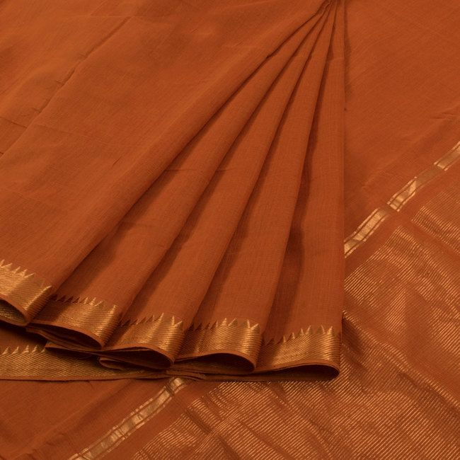 Handwoven Orange Mangalgiri Cotton Saree With Zari Border 10012451 - AVISHYA.COM