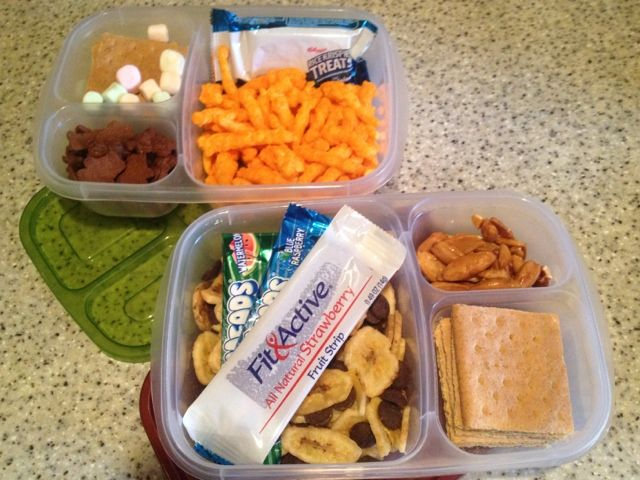 Great idea - pack a day's worth of snacks for roaming the parks at Disney World in these hand compartmentalized containers - be healthy and save money!!!