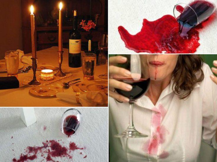 Manchas de vino tinto.