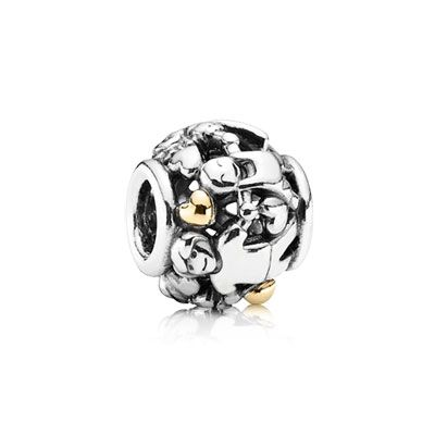 Family Forever - Sterling silver charm with 14k gold hearts. $75 #PANDORA #PANDORAcharm
