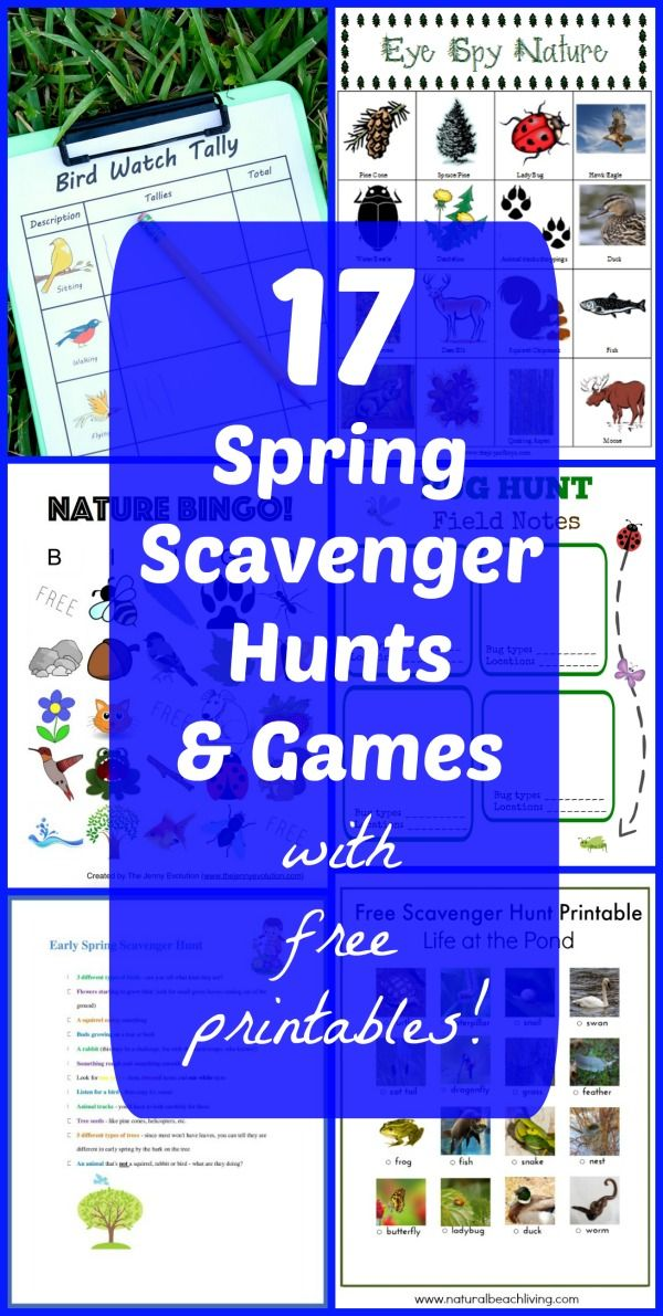 Love this collection of Spring Scavenger Hunts for kids all with FREE printables!  Fun way to get outside & explore!