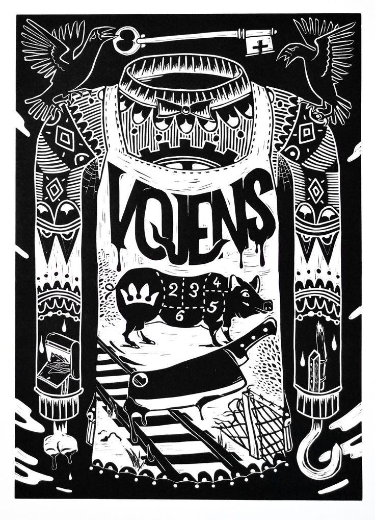 MIKE TYLAK   VOJENS (LINOCUT) via I DO ART   WEBSHOP. Click on the image to see more!