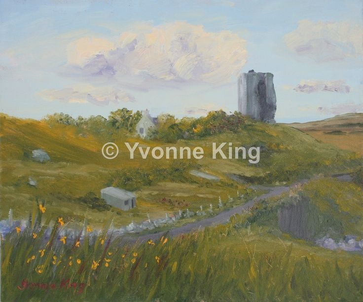 "2014-Yvonne-King-""Renvyle Castle""-12""x10"" Renvyle Castle was a home once to Grace O'Malley, the Pirate Queen. It looks over the stunning Renvyle landscape to the wild Atlantic ocean."