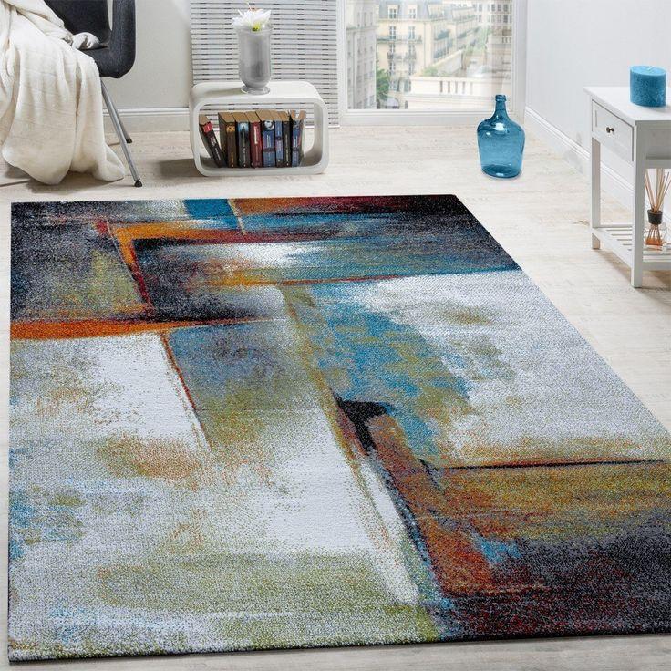 Designer Teppich Modern Kurzflor Wohnzimmer Bunt Trendig Meliert Multicolour Grsse80x150 Cm Amazon