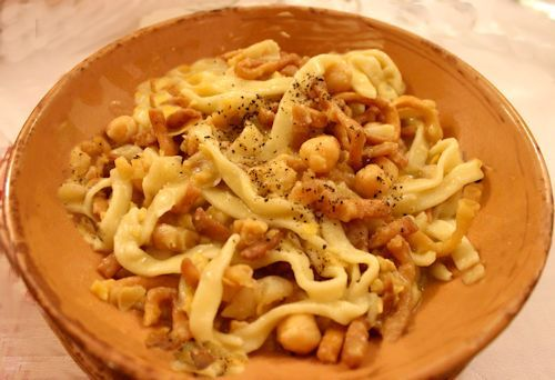 """Ciciri e tria"" is a traditional disch of Salento. It's made from fresh pasta, garbanzo bean and fried pasta...very very yummy!!! http://www.salentourist.it/puglia/salento/trulli-e-dimore-tipiche/#results"