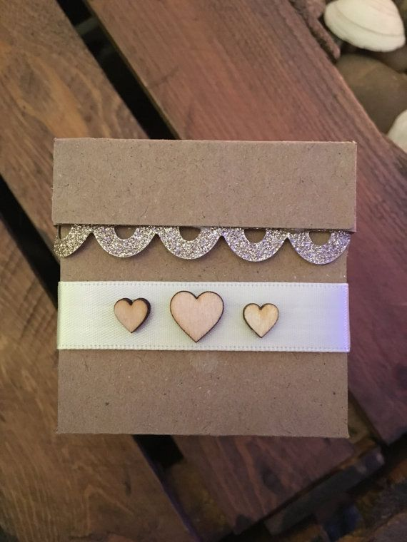 x10 Kraft Favour Boxes with wooden heart buttons