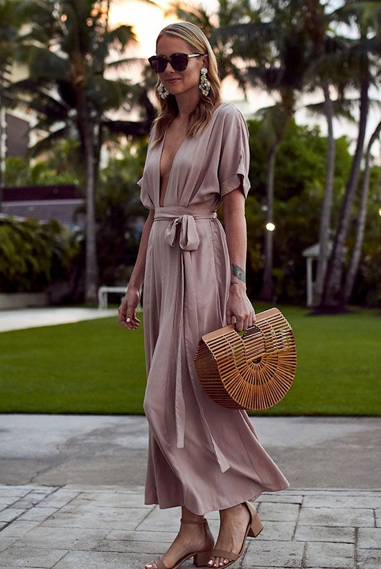Street style, summer outfit, beach outfit, travel outfit, romantic outfit, date night outfit, party outfit, summer wedding outfit, valentine's day outfit - pink maxi dress, nude sandals, brown sunglasses, straw bag, straw clutch