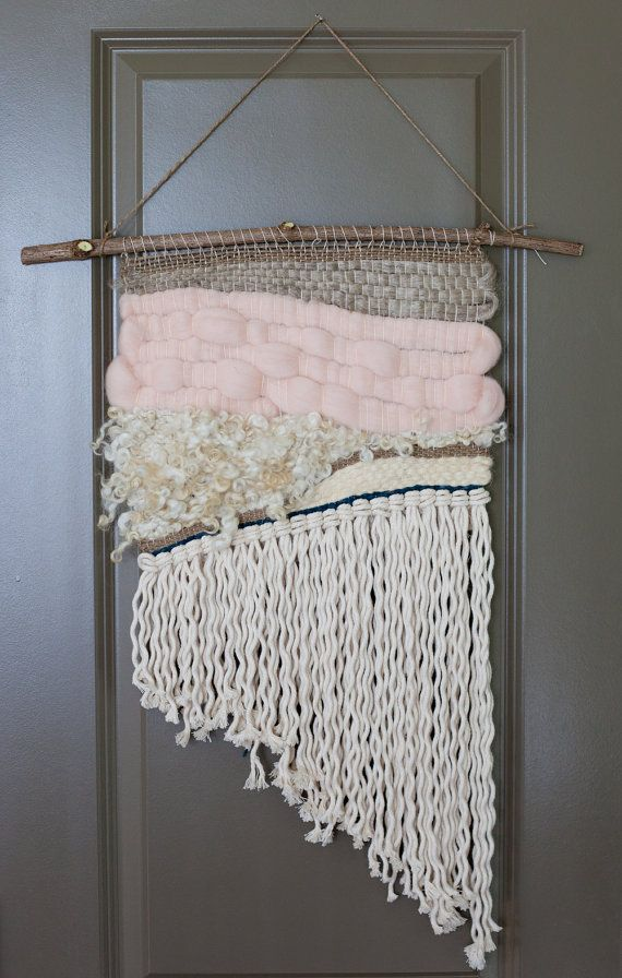 pink asymmetrical / weaving tapestry with tassels, all organic materials. textile art.