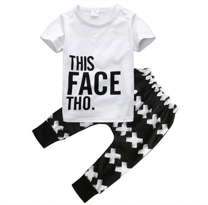Little Boys Short Sleeve Letters Print T-shirt and Cross Pants Outfit (90(1-2Y))