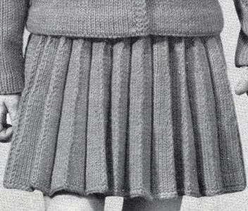 Girl's Knife Pleated Skirt knit pattern from Speedknits for Children, originally published by Patons & Baldwins, Book 71.