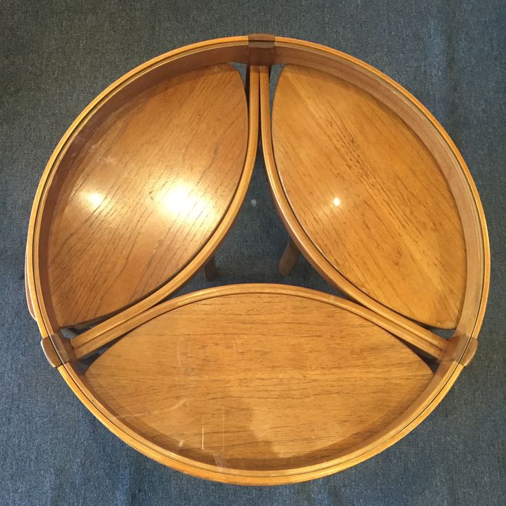Mid_Century English Round Glass Top Teak Coffee Table With 3 Nesting Elliptical  Tables