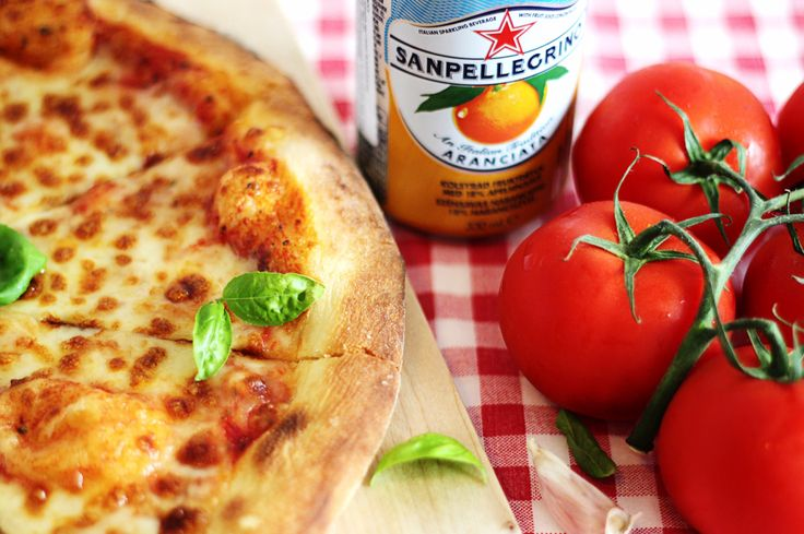 Food styling - Lombardi's pizza with st. pellegrino
