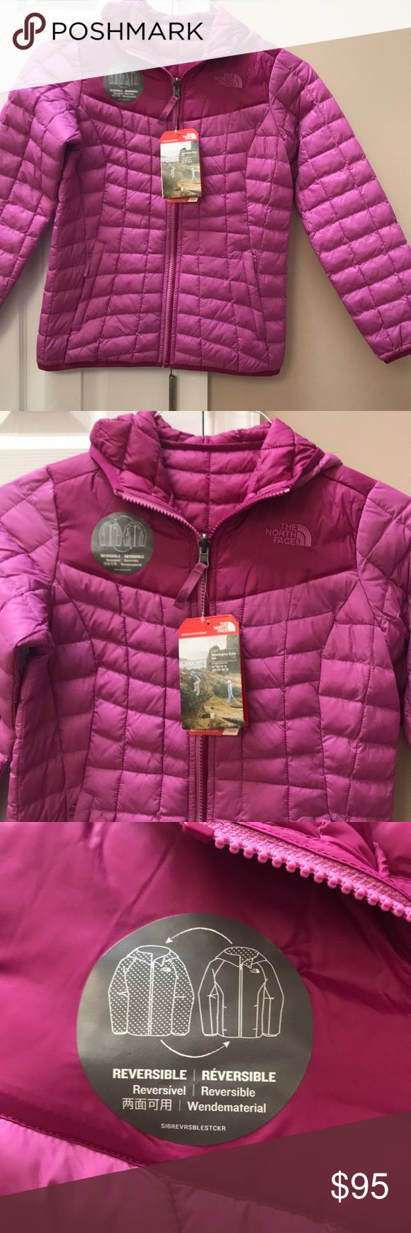 The North Face Girls Thermoball jacket medium Girls reversible Thermoball Northface jacket in Wisteria. A very pretty purplish/pink color.  Never worn. My daughter outgrew it before she could even wear it.  Lightweight yet good for cold weather. The North Face Jackets & Coats Puffers