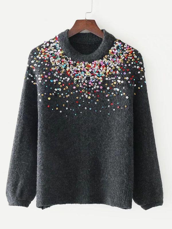 f3be02a7cc Shop Sequin Embellished Raglan Sleeve Sweater online. SheIn offers Sequin  Embellished Raglan Sleeve Sweater & more to fit your fashionable needs.