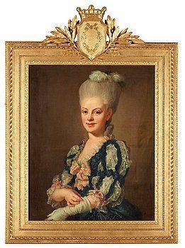 "LORENS PASCH D Y, ""Sigrid Charlotta Wrede af Elimä"" (1763-1828). Signerad Laur. Pasch pinxit och daterad 1780. Uppfodrad duk 76,5 x 62,5 cm."