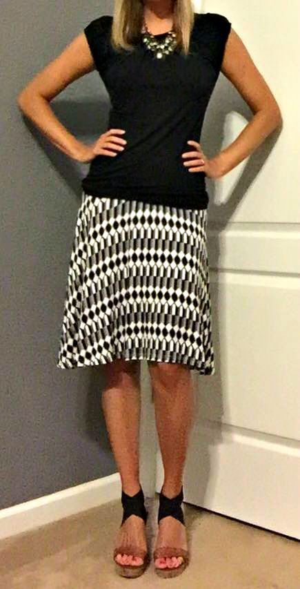 Stitch Fix Review August 2015 - Papermoon Kasidy Geo Print Skirt - gorgeous black & white print - soft fabric!