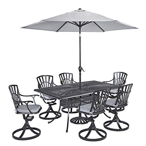 Home Styles 55603756C 7Piece Dining Set with Umbrella and Cushions Charcoal Finish *** Want additional info? Click on the image.(This is an Amazon affiliate link and I receive a commission for the sales)