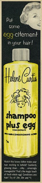 1954 Hair Care Ad, Helene Curtis-Helene Curtis Shampoo Plus Egg Concentrate by classic_film, via Flickr