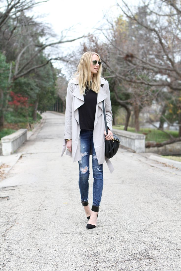 Lightweight Trench Coat & Ripped Denim Jeans, black sweater, black heels, grey hat #fashionjackson