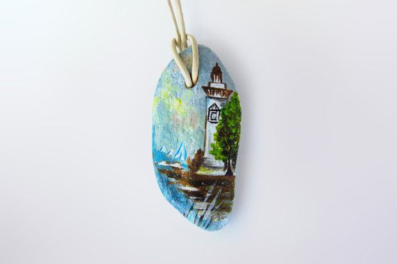 Hand-painted stone Necklace leather rope by CanitinLivingStones
