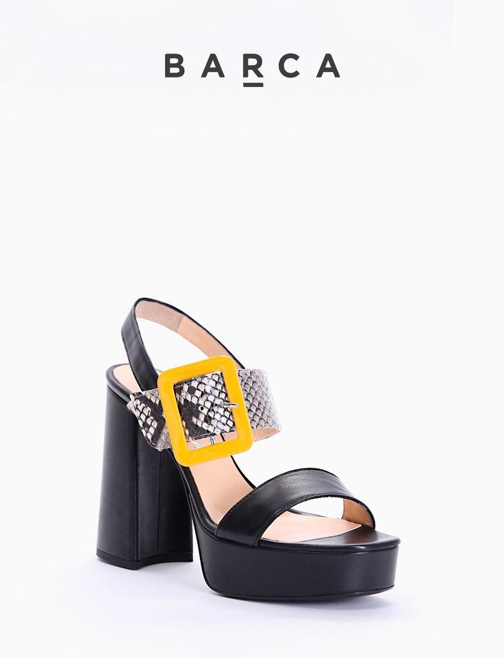 #Sandalo #tacco 80 stabile, fondo gomma e soletto in vera #pelle, tomaia in morbida pelle due fasce, pelle + stampa #pitone roccia con chiusura #fibbia grande #arancione.    COMPOSIZIONE  FONDO GOMMA, SOLETTO VERA PELLE    CARATTERISTICHE  Altezza tacco 8 cm    COLORE  #Nero    MATERIALE  #Pelle  #Madeinitaly #scarpe #moda #scarpedonna #shoes #modadonna #inspirationmoda #springsummer #Barcastores