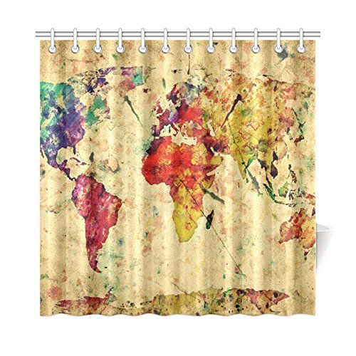82 best pete needs a shower curtain too images on pinterest amazon vintage style world map 72 x 72 inch waterproof polyester fabric bathroom bathroom curtainsshower sciox Gallery