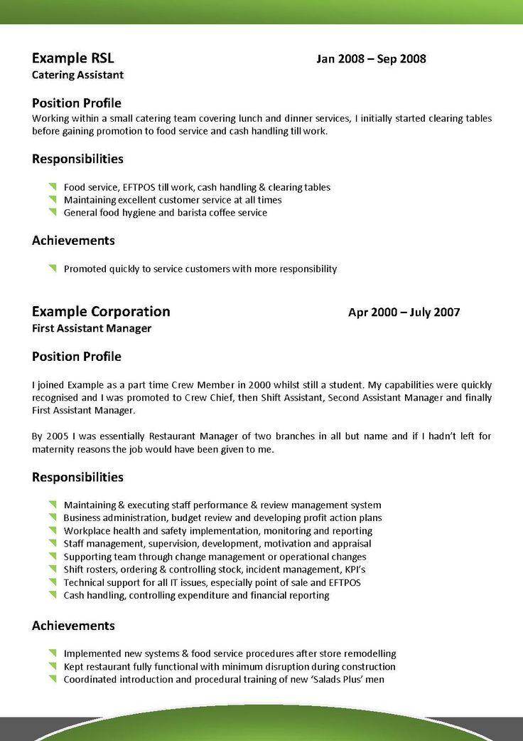 A Wide Range Of Templates To Choose From Hospitality Cv Templates