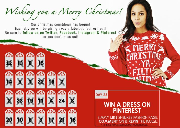 Only 2 days left to grab yourselves a freebie! Today we're back on Pinterest to give one lucky lass the chance to WIN a new Dress.  Simply follow Shelikes Fashion REPIN the comp image, COMMENT on or LOVE it for your chance to WIN.  #comp #win #competition #freebie #xmas #christmas