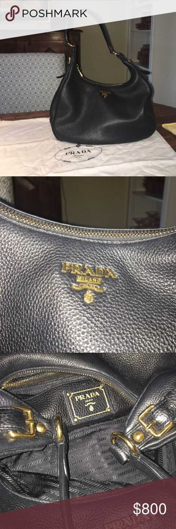 Prada HOBO, Black Vitelli Daino B4311M Excellent condition!  Like new.  Purchased in Nov. 2014, little use.  Black with gold hardware.  Ziptop Hobo shoulder bag.  No worn edges.  Inside is great condition.  Have receipt and original dust bag.  Purchased at Prada outlet (last season bags- not 2nd's) for $975, original price $1550. Prada Bags Shoulder Bags